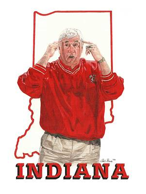 Mixed Media - The General Bob Knight by Chris Brown