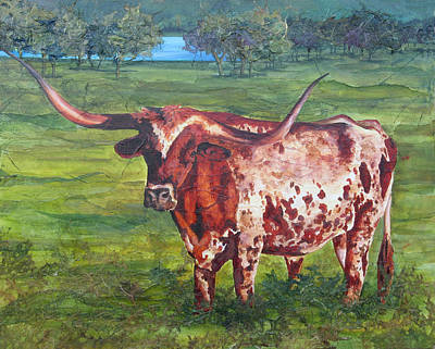 Longhorn Pasture Painting - The General by Robin Hegemier