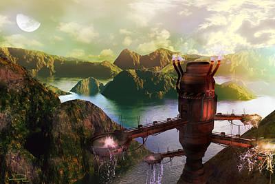 Scifi Mixed Media - The Genesis Machine by Emma Alvarez