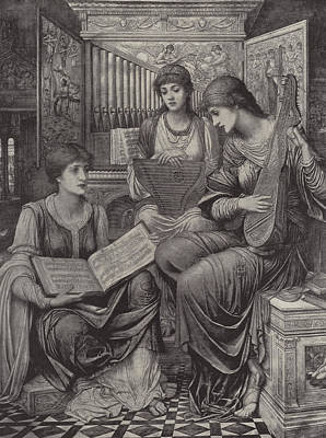 Lute Drawing - The Gentle Music Of The Bygone Day by John Melhuish Strudwick