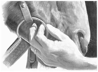 Working Cowboy Drawing - The Gentle Touch by Duane Isaacson