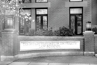Photograph - The George Washington University Law School Dc Bw by Susan Candelario