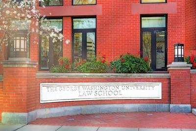 Sign Photograph - The George Washington University Law School Dc by Susan Candelario