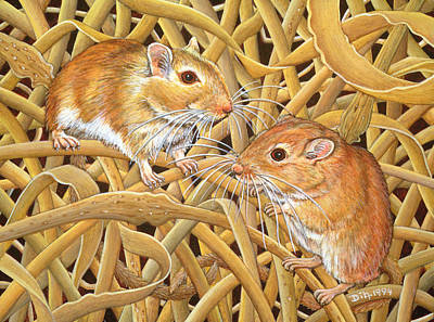 Nibbling Painting - The Gerbils by Ditz