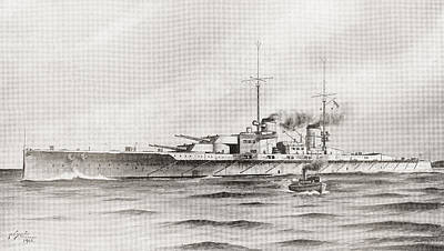 Cruiser Drawing - The German Battle Cruiser, Lutzow by Vintage Design Pics