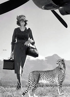 Getaway Mixed Media - The Getaway, Film Scene Idea, Promotion, Louis Vuitton Luggage, With Her Cheetah Companion  by Thomas Pollart