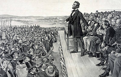 Abraham Lincoln Drawing - The Gettysburg Address by American School