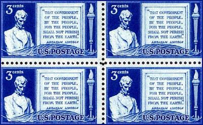 Gettysburg Address Painting - The Gettysburg Address Stamp by Lanjee Chee