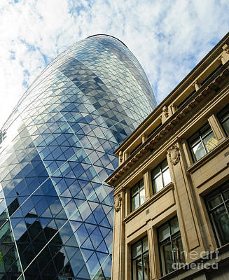 Photograph - The Gherkin, Old And New In London by Colin Rayner