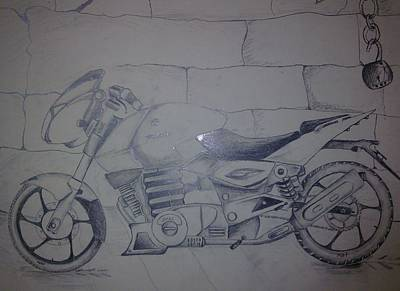 Game Lights Drawing - The Ghost Ryder by Joni Mazumder