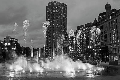 Photograph - The Ghosts Of The Boston Greenway Fountain Boston Ma Black And White by Toby McGuire