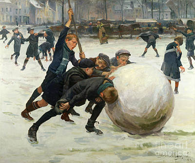 Playground Painting - The Giant Snowball by Jean Mayne