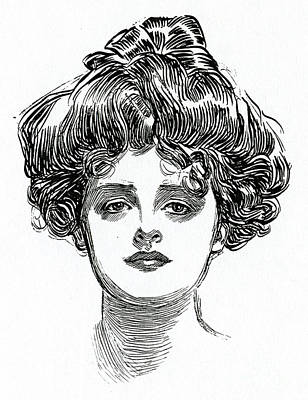Stare Drawing - The Gibson Girl by Charles Dana Gibson
