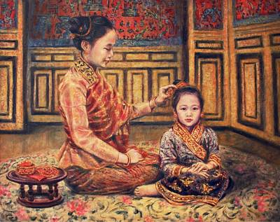 Laos Painting - The Gift by Sompaseuth Chounlamany