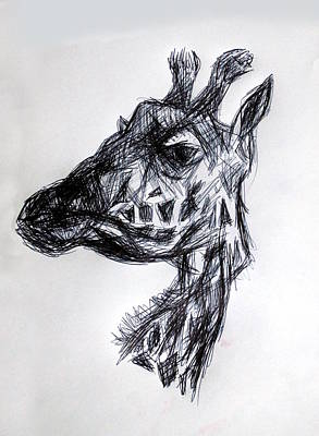 Tiger Drawing - The Giraffe  by Paul Sutcliffe
