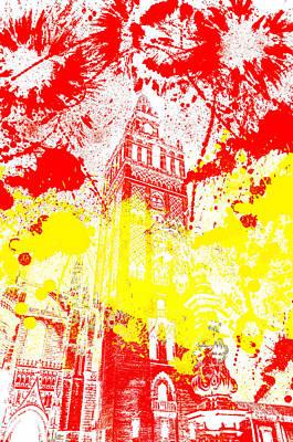 Digital Art - The Giralda - Spanish Flag  by Andrea Mazzocchetti