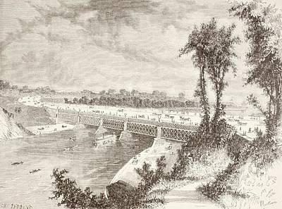 The Girard Point Bridge Crossing The Art Print by Vintage Design Pics