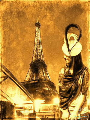 Pyrography - The Girl And The Tower Paris by Yury Bashkin