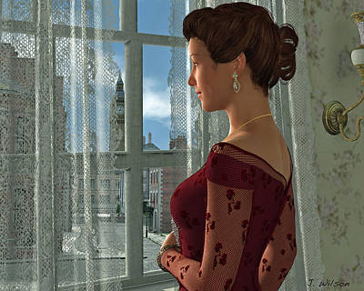 Digital Art - The Girl At The Window by Jayne Wilson