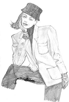 Drawing - The Girl In Hat And Jacket by Michelle Gilmore