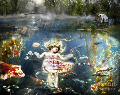 Koi Digital Art - Fantasy- The Girl In The Koi Pond by Feryal Faye Berber