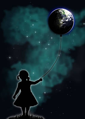 Planets Drawing - The Girl That Holds The World by Nicklas Gustafsson