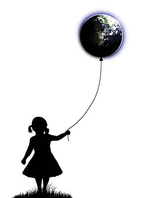 Balloons Drawing - The Girl That Holds The World - White  by Nicklas Gustafsson
