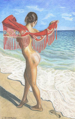 Dancing On The Beach Drawing - Nude Woman On The Ocean Beach by Julia Strittmatter