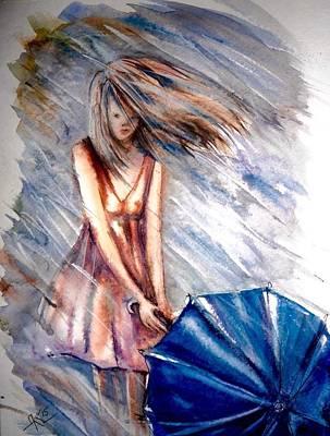 The Girl With A Blue Umbrella Art Print