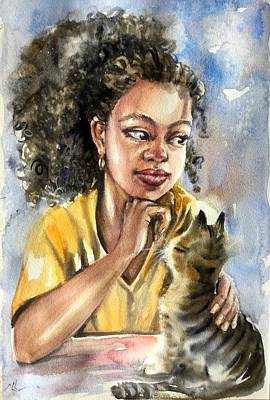 Painting - The Girl With A Cat by Katerina Kovatcheva