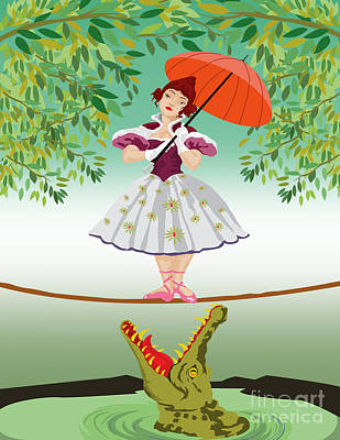 Haunted Mansion Digital Art -  The Girl With A Crocodile  by Three Second