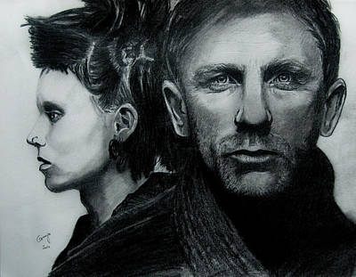 The Girl With The Dragon Tattoo Drawing - The Girl With A Dragon Tattoo  by Gracja Waniewska
