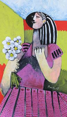 Outsider Art Painting - The Girl With Flowers by Mark M  Mellon