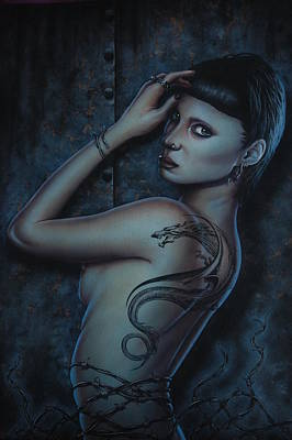 The Girl With The Dragon Tattoo Painting - The Girl With The Dragon Tattoo by Tom Davidson