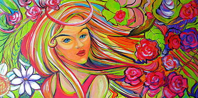 The Girl With The Flowers In Her Hair Art Print by Jeanette Jarmon