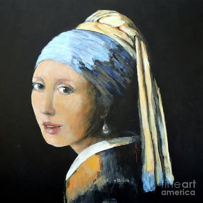 Painting - The Girl With The Pearl Earring  by Jodie Marie Anne Richardson Traugott          aka jm-ART