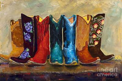 Western Art Painting - The Girls Are Back In Town by Frances Marino