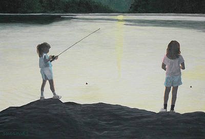 Tree Reflection At Sunset Painting - The Girls At The Lake by Candace Shockley