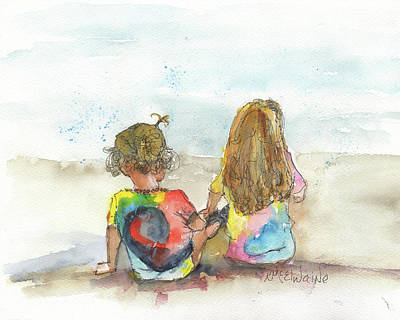 Painting - The Girls Watercolor Kmcelwaine by Kathleen McElwaine