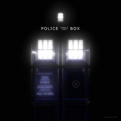 Futuristic Digital Art - The Glass Police Box by Jules Gompertz