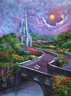 Cinderella Castle Painting - The Glass Slippers by Randy Burns