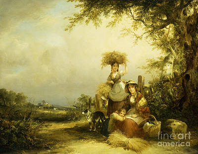 Farm Border Painting - The Gleaners Shirley, Hants by William Shayer Snr