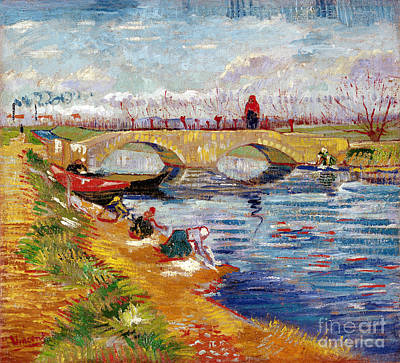 Riverbank Painting - The Gleize Bridge Over The Vigneyret Canal  by Vincent van Gogh