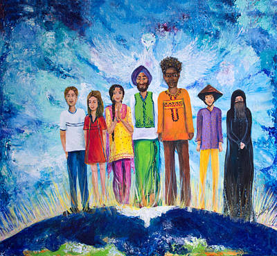 Multicultural Painting - The Global Family by Sarabjit Singh