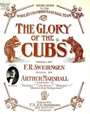 Mixed Media - The Glory Of The Cubs Chicago Cubs Poster 1908 by Peter Gumaer Ogden Collection