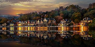 The Glow Of Boat House Row Reflection Art Print