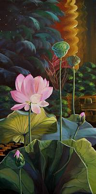 Lotus Bud Painting - The Glow Of My Soul by Mona Davis
