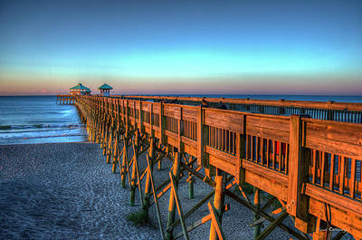 Photograph - The Glowing Folly Beach Pier Sunrise Charleston South Carolina Art by Reid Callaway
