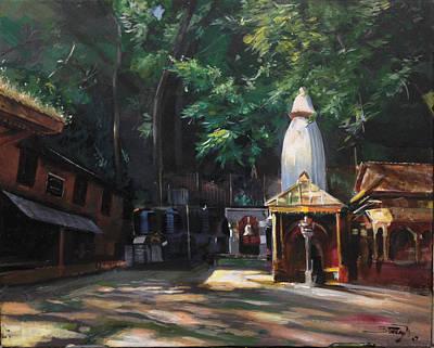 Nepali Painting - The Glowing Temple by Utsav Adhikari
