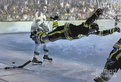 Boston Bruins Mixed Media - The Goal, Bobby Orr by Mark Tonelli